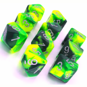 Green & Yellow Gemini D10 Ten Sided Dice Set